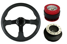 F2 BLACK RED Quick Release Steering Wheel + Boss Kit RB for BMW E36 051