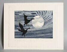 1980s Woodcut print by Ruth Adams McCahon, Limited ed. 23/200, Canada Geese