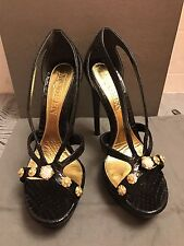 Alexander McQueen Runway Black Armadillo Platform Sandal Heel Snakeskin $1340