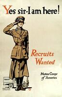 """""""Recruits Wanted"""" US-WW I Recruitment Poster 11"""" by 17"""""""
