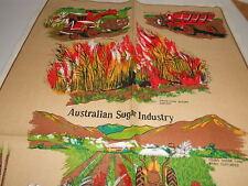 VINTAGE SOUVENIR TEA TOWEL LINEN/COTTON BLEND 'AUSTRALIAN SUGAR INDUSTRY' NEW