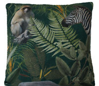 "Monkey  Cushion Cover Jungle Forest Green Printed Cotton Fabric 16"" Square"