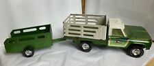 Vintage 1970s Nylint Farms Pressed Steel Green Truck and Trailer
