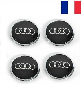 4x Cache Moyeu Audi 69mm Noir Logo Centre Roue jante Embleme Neuf A3 A4 A5 A6 Q3