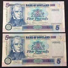 More details for two 2006 bank of scotland five pounds sterling banknote unc