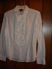 Talbots blouse size 12P Petite LS button front white stretch poplin