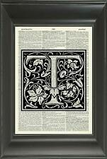 ORIGINAL - Letter T Alphabet Vintage Dictionary Art Print Personalised Gift 541D
