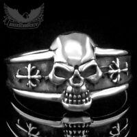 Totenkopfring mit verzierten Kreuzen 925 Sterling Silber Herren Damen Biker Ring