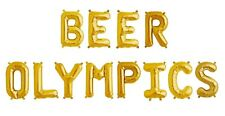 """BEER OLYMPICS Letter Balloons - Beer Bar Sign - Alcohol - 16"""" Gold - US SHIP"""
