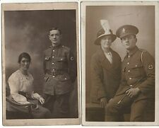 2x postcards WW1 soldiers RAMC Royal Army Medical Corps & Wife Manchester photo