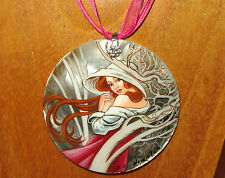 Russian hand painted SHELL pendant REPRODUCTION MUCHA ART NOVEMBER Autumn MONTHS