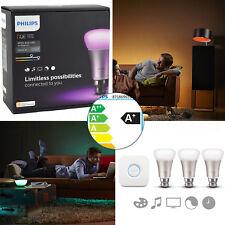 Genuine Philips Hue Wireless Ambiance Colored Lighting B22 LED Bulb Starter Kit