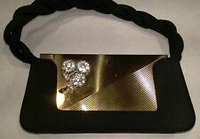 "Vintage ""Volupte"" Compact Purse (Evening/Opera Purse) with Rhinestone Flowers"