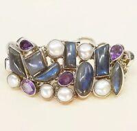 "6.75"", Sterling Silver Handmade Bracelet, 925 W/ Labradorite, Pearl, Amethyst"