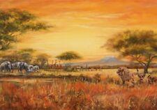 Wand Bild A. Heins Landschaften Afrika Malerei Ocker 69x99x1,2 cm A5VQ