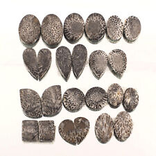 24 Pcs/12 Pairs Natural Black Fossil Coral Top Quality Untreated Gems 14mm-24mm