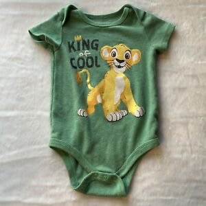 Disney Lion King Infant Baby Bodysuit One Piece King of Cool Green Size 18M