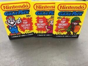 Lot of 3 1989 Topps Nintendo Game Packs Unopened