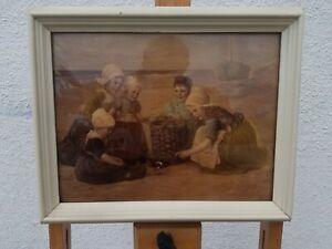 "Edmond Louyot 1861-1920  Reverse Painting on Glass 8""x6"" On the Beach"