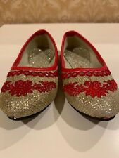 Girl's Size 8 Dress Up Shoes Red & Gold Sparkly