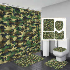 Bathroom Military Camouflage Door Bath Mat Toilet Cover Rugs Shower Curtain
