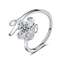 NEW 925 Sterling Silver Zircon Flower Cherry Blossoms Ring Size Q Adjustable