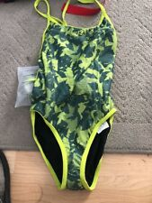 WOMEN'S ELITE ONE-PIECE STRAP BACK SWIMSUIT (SHATTER ACID LIME) XS (30)