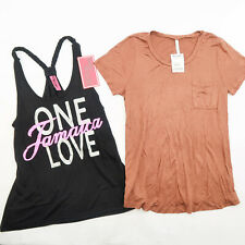 Lot of 2 Women's Black Jamaica One Love Tank Top & Brown rayon tshirt size M New