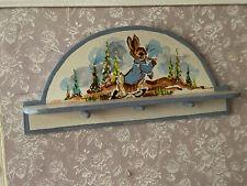 Vintage Miniature Dollhouse 1989 Karen Markland Painted Peter Rabbit Wall Shelf