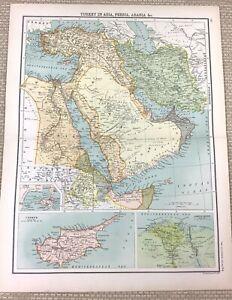 1891 Antique Map of Arabia Asia Persia Turkey Egypt Aden Old 19th Century