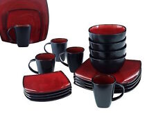 Red Square Plate Set Dinnerware Dining Plates Dishes Mugs Bowls 48 Piece