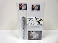 New Bichon Frise List Pad Note Pad Magnet Pen Stationery Gift Pack By Ruth BIC-5