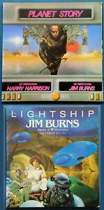 Jim Burns Planet Story Big O 1979 + Lightship Paper Tiger 1985 1st Paperback Lot