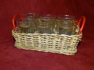 6 Vintage Retro shot glasses in a wicker sectioned tray