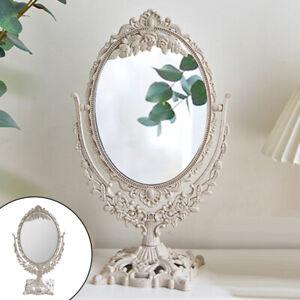 Decorative Desktop Mirror Oval 360° Swivel Cosmetic Makeup Mirror Bathroom