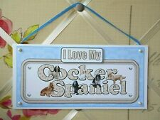 Cocker Spaniel Sign I Love My Dog Plaque Card Wall Hanging Blue Paws Handmade
