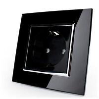 LIVOLO Steckdose Glas Schwarz 1 Fach mit Kindersicherung VLC7C1EU-12