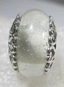 New Authentic PANDORA Silver 925 Ale Iridescent White Murano Glass Charm 797617