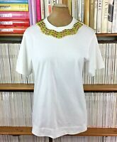 MARNI top blouse t shirt jewel collar gold green oversize IT 36 UK 6 8 US 2 4