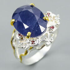 Factory Art Natural Blue Sapphire 925 Sterling Silver Ring Size 8.5/R91439