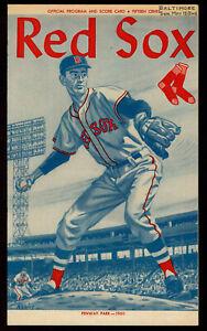 1960  BOSTON RED SOX vs BALTIMORE ORIOLES 2 ND GAME baseball program