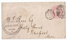 1869  penny pink envelope to Newport Mon with Royal Agriculture Society Cachet