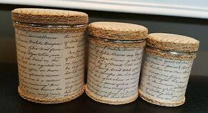 3 Piece Decorative Tin Canister Set w/Lids ~ Twine Trim ~ Vintage 1866 Writings