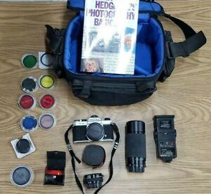 Pentax K1000 Camera Kit, std lens, 2x multi, Zoom, Flash, Filters, Book & case