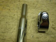 """Schwinn Stingray Bicycle Seat Post Clamp With S Bolt and 14 1/2"""" Script Post"""
