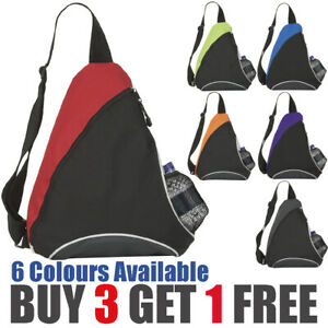 Black / Coloured Mono Strap Rucksack Backpack Bag with mesh water bottle pouch