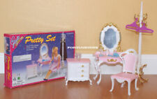 GLORIA DOLL HOUSE FURNITURE SIZE Pretty Vanity W/ Coat Stand Playset For Dolls