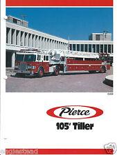 Fire Equipment Brochure - Pierce - 105' Ft Tiller - Lowell FD - c1990 (DB229)