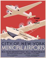 "New York City Municipal Airports WPA poster Photographic reprint 8""x10"""