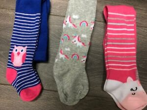 BABY GIRL'S TIGHTS COTTON RICH GREY PINK BLUE UNICORNS OWLS